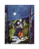 Lovers in Moonlight Posters van Marc Chagall