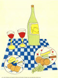 Pique-nique avec vin et fromage Poster par Lorraine Cook