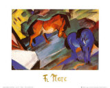 Red and Blue Horses Art by Franz Marc