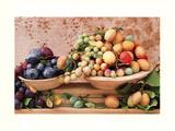 Sélection de prunes dans une coupe Affiche par Linda Burgess