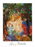 Women Taking a Bath with a Town on the Back Posters by Auguste Macke