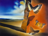 Landschap met vlinders Print van Salvador Dalí