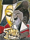 Hodet til en kvinne som leser Posters av Pablo Picasso