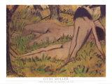 Zwei Madchen im Grunen Um, 1925 Prints by Otto Mueller