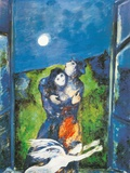 Lovers in Moonlight Art by Marc Chagall