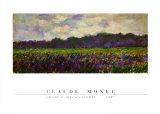 Champ d'iris Giverny, 1887 Poster af Claude Monet