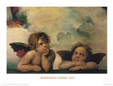 Santi Sixtinische Madonna Detail Poster von  Raphael