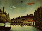 Landscape and Zeppelin Art by Henri Rousseau