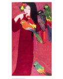 Mädchen mit Papageien Kunstdruck von Walasse Ting