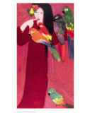 Girl with Parrots Prints by Walasse Ting