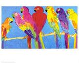 Perroquets sur fond bleu Posters par Walasse Ting