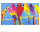 Parrots in Blue Poster van Walasse Ting