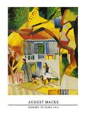Innenhof Landhaus Bei St.Germain, 1914 Plakater af Auguste Macke