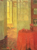 Red Table Cloth Art by Henri Le Sidaner