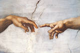 Creation of Adam Detail Hands Kunst av Michelangelo Buonarroti,