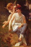 Venus and Cupid Poster by Guillaume Seignac