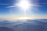 A High, Bright the Sun Over the Foggy Andes Mountains Fotografisk tryk af Mike Theiss