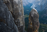 Posing on the Lost Arrow Spire Above Yosemite Village on Her Wedding Day Photographic Print by Ben Horton