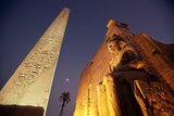 Ramses Statue and Obelisk at the Entrance to the Luxor Temple Complex Photographic Print by Alex Saberi
