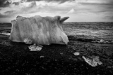 A Small Iceberg on a Volcanic Rock Beach at Jokulsarlon Lake, a Glacial Lagoon Photographic Print by Jonathan Irish