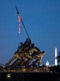 Iwo Jima Memorial at Dusk with the Capitol and Washington Monument Photographic Print by Vickie Lewis