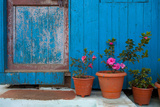 Potted Magenta Flowers and a Blue Doorway in the Himalayas Photographic Print by Ben Horton
