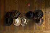 Cowboy Hats Hanging From Hooks on a Paneled Wall Photographic Print by Richard Olsenius
