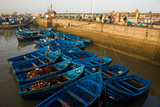 Bright Blue Fishing Boats Float in the Harbor of Essaouira Photographic Print by Cristina Mittermeier