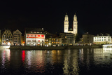 Old Town Zurich, Grossmunster Cathedral, and the Limmat River Reproduction photographique par Greg Dale
