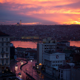 The Fatih Mosque at Sunset with the Golden Horn Photographic Print by Alex Saberi