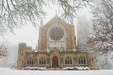 Snow-covered Trees and All Saint's Chapel in Heavy Fog Photographic Print by Stephen Alvarez