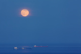 A Full Moon Rising Over Anchored Oil Tankers in Lyme Bay, England Photographic Print by Nigel Hicks