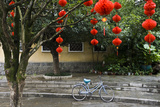 Decorations Hang From Branches Above a Blue Bike in Yangshuo, China Photographic Print by Jonathan Kingston