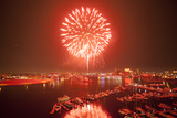 Independence Day Fireworks Over the Harbor in Baltimore Photographic Print by Richard Olsenius