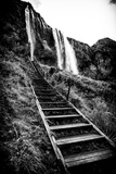 A Wooden Stairway Leading Up to Seljalandsfoss Waterfall Photographic Print by Jonathan Irish