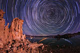 A Moonlit Time Exposure Sky's Rotation Around the Star Polaris Photographic Print by Babak Tafreshi