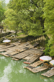 Bamboo Rafts Dock by Stone Stairs on the Li River Near Yangshuo, China Photographic Print by Jonathan Kingston