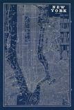 Blueprint Map New York Schilderijen van Sue Schlabach