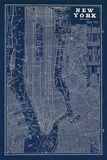 Sue Schlabach - Blueprint Map New York - Reprodüksiyon
