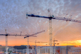 Panorama of a Building Site in Washington, District of Columbia, at Sunset Photographic Print by Sam Kittner
