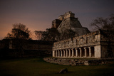 The Pyramid of the Magician and the Governor's Palace Mayan Ruins Under a Star Filled Sky Photographic Print by Dmitri Alexander