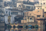 Rowboats Moored at the Ghats of Mathura, India, on the Holy Yamuna River Photographic Print by Jonathan Kingston