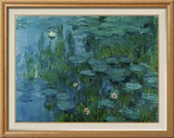 Water Lilies Brushstroked Canvas by Claude Monet