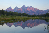 A Reflection of the Grand Teton Range in the Snake River Fotografisk tryk af Barrett Hedges