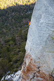 A Man Climbs Above the Scary and Difficult Route 'The Edge' on Tahquitz Rock Photographic Print by Ben Horton