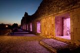 The Mayan Nunnery Quadrangle Ruin Illuminated at Night Fotografisk tryk af Dmitri Alexander