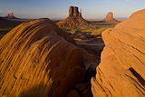 Warm Golden Sunlight on the Rock Formations Known As the Mittens Photographic Print by Derek Von Briesen