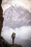 A Woman Climbing in the Khumbu Region of the Himalaya Mountains Fotoprint van Cory Richards