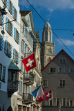 Architecture and Flags in Downtown Zurich Photographic Print by Greg Dale