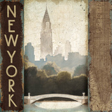 City Skyline New York Vintage Square Art by Marco Fabiano